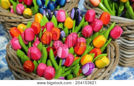 lots of colorful tulips for sale in the flower market