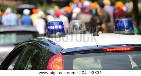 Police Patrol Cars Sirens  Flashing During The Demonstration Of