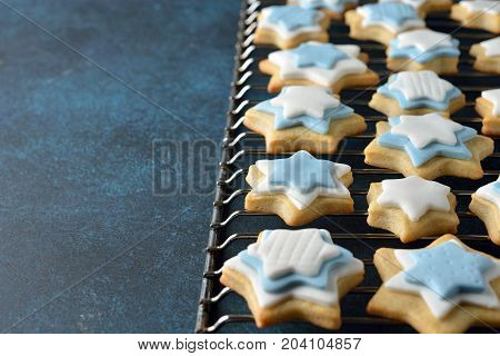 Christmas cookies decorated with sugar mastic close up
