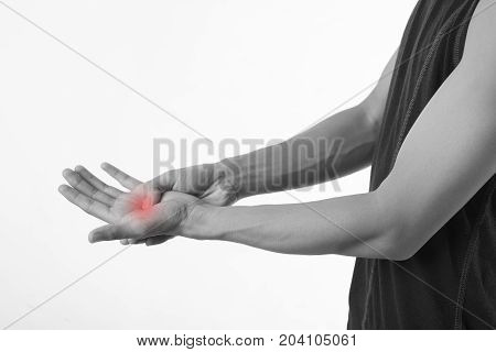 Young man pain in the palm on white background.