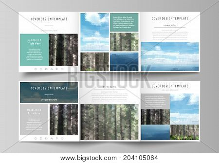 Set of business templates for tri fold square design brochures. Leaflet cover, abstract flat layout, easy editable vector. Colorful background made of triangular or hexagonal texture for travel business, natural landscape in polygonal style.