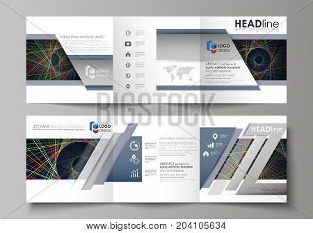 Set of business templates for tri fold square design brochures. Leaflet cover, abstract flat layout, easy editable vector. Bright color lines, colorful beautiful background. Perfect decoration