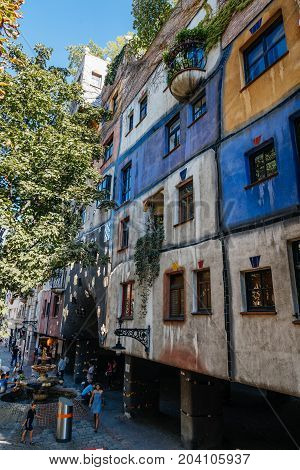 Vienna, Austria - August 15, 2017: Hundertwasserhaus in Vienna. It is is an apartment house in Vienna built after the idea and concept of Austrian artist Friedensreich Hundertwasser.