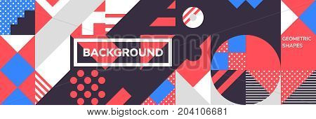 Simple banner of decorative patterns square modules colored geometric composition in Scandinavian style