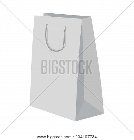 High paper bag mockup. Realistic illustration of high paper bag vector mockup for web design isolated on white background
