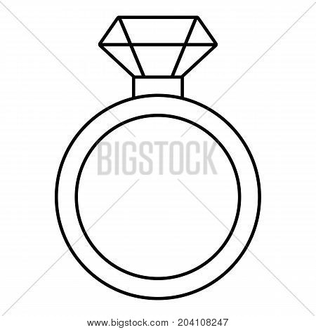 Diamond engagement ring icon. Outline illustration of diamond engagement ring vector icon for web design isolated on white background