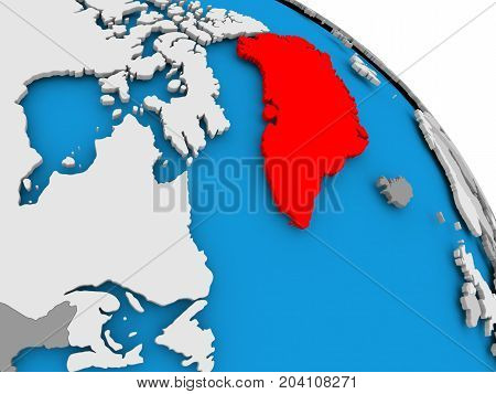 Greenland In Red On Map