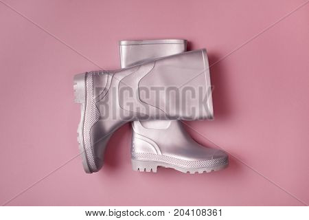Bright Gumboots On Pink
