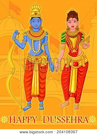 Vector design of Statue of Indian God Rama and Sita for Happy Dussehra festival of India