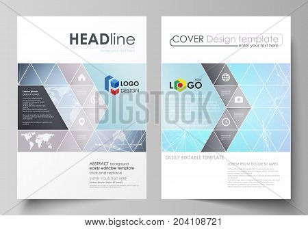 The vector illustration of the editable layout of two A4 format covers with triangles design templates for brochure, flyer, booklet. Polygonal texture. Global connections, futuristic geometric concept.