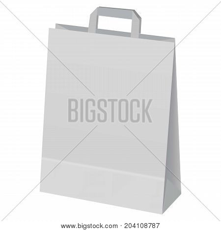 Paper hand bag mockup. Realistic illustration of paper hand bag vector mockup for web design isolated on white background