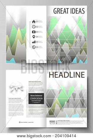 The vector illustration of the editable layout of two A4 format modern cover mockups design templates for brochure, magazine, flyer. Rows of colored diagram with peaks of different height