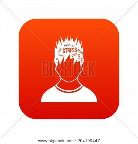 Word stress in the head of man icon digital red for any design isolated on white vector illustration