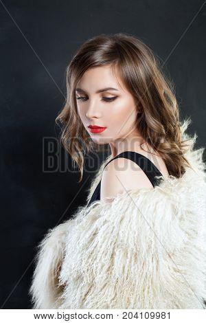 Beautiful Woman Fashion Model in Luxury Fur Coat