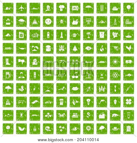 100 global warming icons set in grunge style green color isolated on white background vector illustration