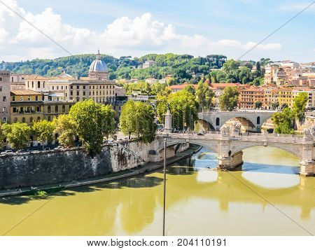 Aerial view of Rome. Bridges through the Tiber River. Rome, Italy