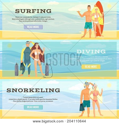 Vector set of beach activities horizontal banners. Surfing, Diving and Snorkeling concept flat style design elements.