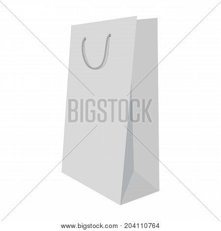 White shopping bag mockup. Realistic illustration of white shopping bag vector mockup for web design isolated on white background