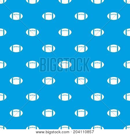 Rugby ball pattern repeat seamless in blue color for any design. Vector geometric illustration