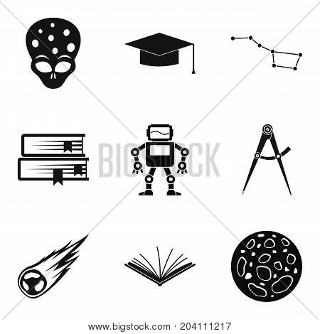 Space icons set. Simple set of 9 space vector icons for web isolated on white background