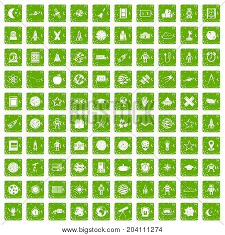 100 astronomy icons set in grunge style green color isolated on white background vector illustration