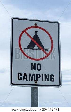 Tasmania Australia - 19 December 2016: Visual No Camping sign at a recreational area on Bruny Island