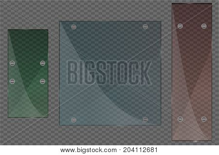 Glass plates set. Vector glass banners on transparent background. Vector illustration