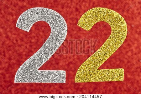 Number twenty-two silver gold over a red background. Anniversary. Horizontal