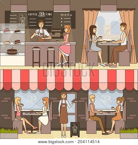 Vector set of coffee horizontal flat banners for business advertising. Service staff barista and waitress serving coffee and desserts to guests sitting at tables. Coffee house interior and exterior.