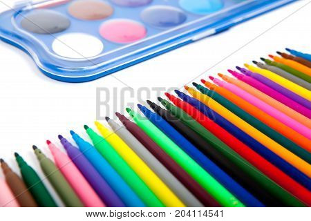 colors marker pens isolated on white background