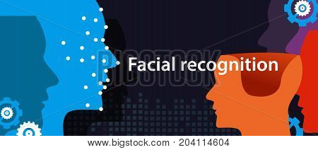 facial recognition dots in face show how machine detects someone. technology ion phone and computing vector