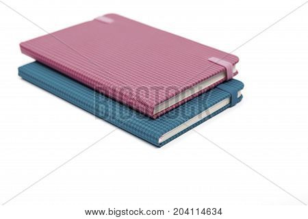 a notebook isolated on white background .