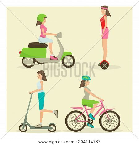 Vector set of girls cartoon characters riding modern street transport motor scooter, push scooter, gyroscooter and bike. Means of transport concept design elements in flat style.