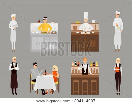Restaurant team vector illustration. Manager, chef, cook, waiter, waitress, barista and visitors man and woman with wineglasses sitting at table flat cartoon characters.