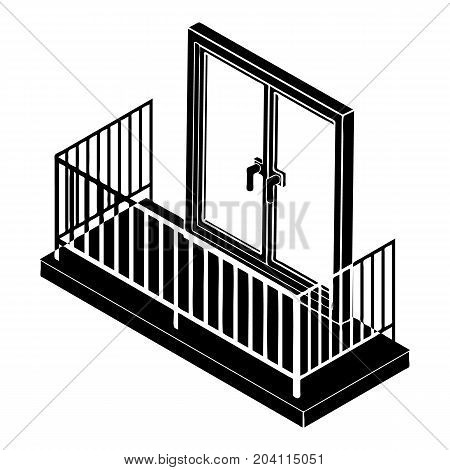Balcony with metal fencing icon. Simple illustration of balcony with metal fencing vector icon for web design isolated on white background