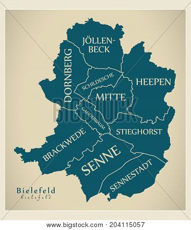 Modern City Map - Bielefeld City Of Germany With Boroughs And Titles De