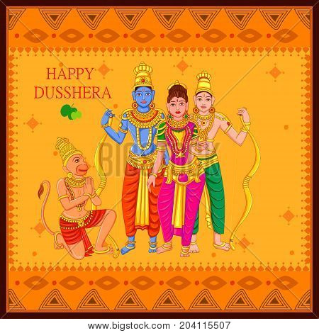 Vector design of Statue of Indian God Rama, Laxmana, Sita and Hanuman for Happy Dussehra festival of India