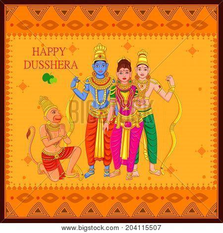 Vector design of Statue of Indian God Rama, Laxmana, Sita and Hanuman for Happy Dussehra festival of India