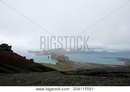 Aerial view of the mountains at Deception Island, Antarctic Peninsula, Antarctica