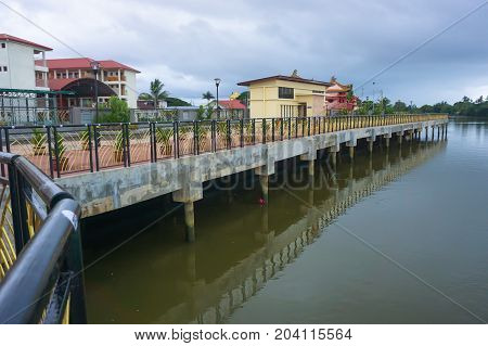 Papar,Sabah,Malaysia-Aug 8,2017:Papar Riverfront view along Papar river,adjacent to Papar town centre in Papar,Sabah,Malaysia.It is a recreation and leisure spot for local residents and also to attract visitors.
