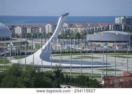 Sochi, Russia - September 11: Fire of Olympic Games at the Park on September 11, 2017