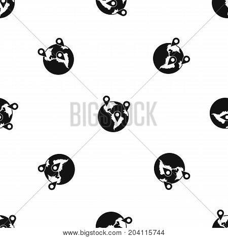 Globe and map pointers pattern repeat seamless in black color for any design. Vector geometric illustration