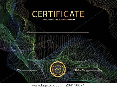 Certificate, Diploma of completion (black design template, background) with colorful guilloche pattern (watermark, lines)