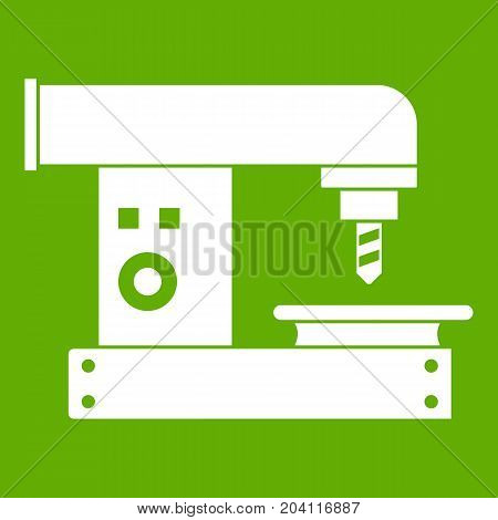Drilling machine icon white isolated on green background. Vector illustration