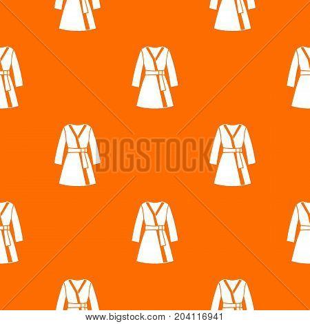 Bathrobe pattern repeat seamless in orange color for any design. Vector geometric illustration