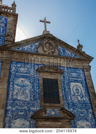 Oporto, Portugal - july 2016: Capela das Almas Decorated with Azulejo Tile - Capela de Santa Catarina in Porto Portugal