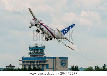 Airplane Sukhoi Superjet 100 Russia, Moscow, Airport Zhukovsky. July 20, 2017