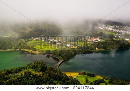 Aerial view to Azul and Verde lakes at Sete Cidades in Sao Miguel Azores Portugal