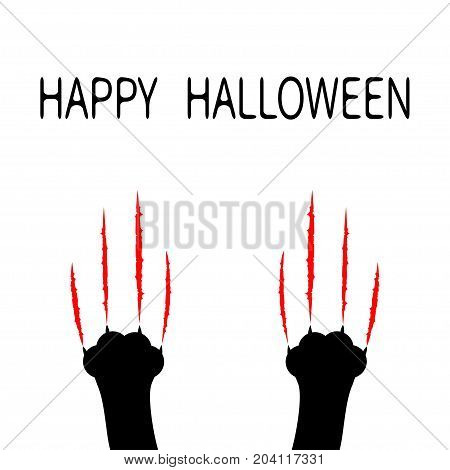Happy Halloween. Bloody claws animal scratch scrape track. Black cat scratching paw leg foot set. Cute cartoon character silhouette. Baby pet collection. Flat design. White background. Vector