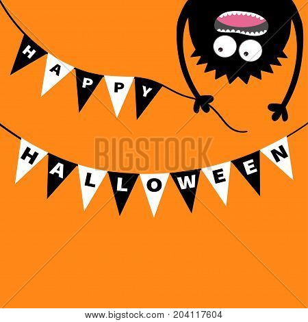 Screaming monster head silhouette. Bunting flags pack Happy Halloween letters. Flag garland. Hanging upside down. Black Funny Cute cartoon baby character. Flat design. Orange background. Vector